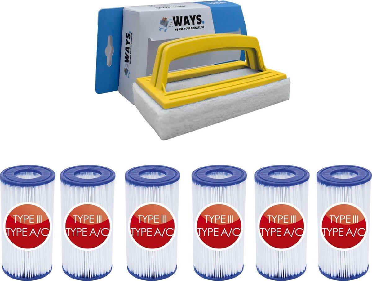 Bestway - Type III filters geschikt voor filterpomp 58389 - 6 stuks & WAYS scrubborstel