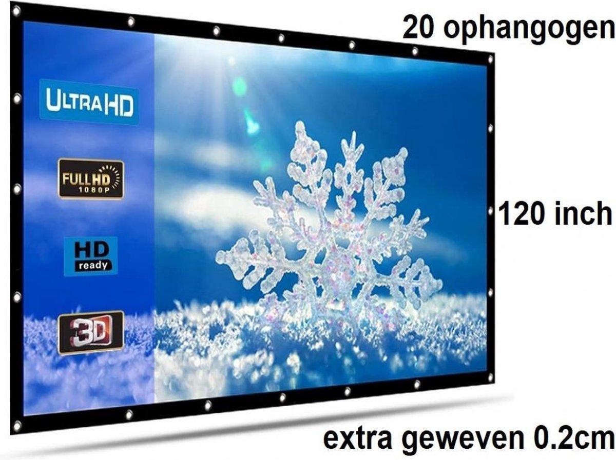 Beamer scherm projectiescherm 120 inch 16:9, dichter geweven >> 560 gram met 20 ophangogen, beamersc
