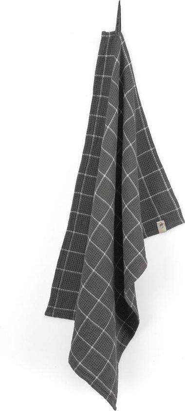 Walra Keukendoek Dry with Cubes - 50x70 - 100% Katoen - Off Black