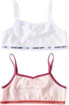 Little Label   meisjes bralette - 2 stuks   wit, roze   maat 158-164   zachte bio-katoen