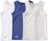 Little Label   jongens hemd - 3 stuks   wit, blauw, grijs   maat 158-164   zachte bio-katoen