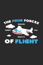 Four forces of flight: 6x9 Flight Attendant - dotgrid - dot grid paper - notebook - notes