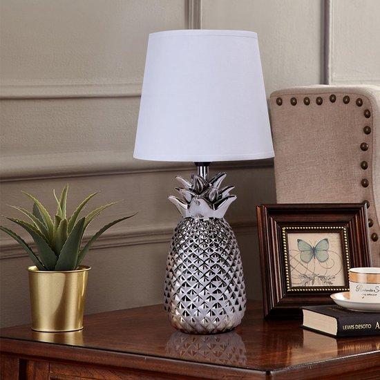 Aigostar Tafellamp Ananas - Keramiek - Lamp met kap - H36 cm - Zilver