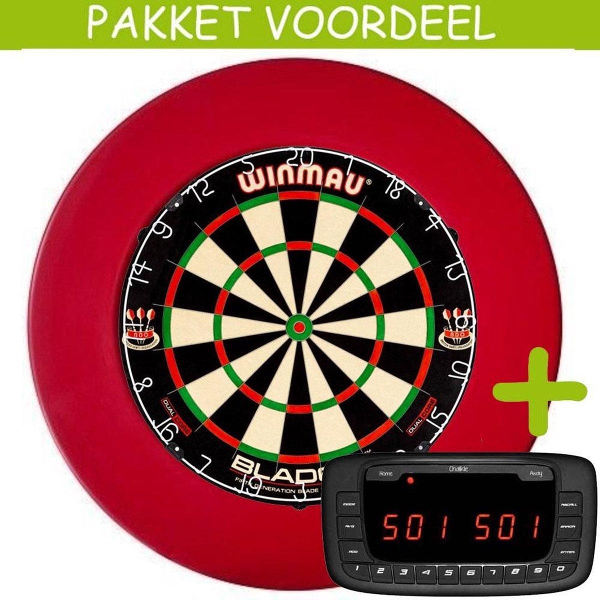 Elektronisch Dart Scorebord VoordeelPakket (Chalkie ) - Dual Core - Rubberen Surround (Rood)