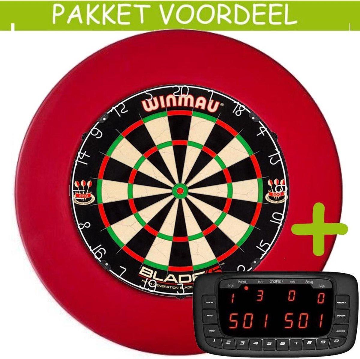 Elektronisch Dart Scorebord VoordeelPakket (Chalkie + ) - Blade 5 - Rubberen Surround (Rood)