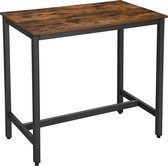 Hoge Bartafel - Smalle Tafel van 105 cm Hoog en 120cm Lang voor Bar of Keuken - Vintage Bruin / Zwart