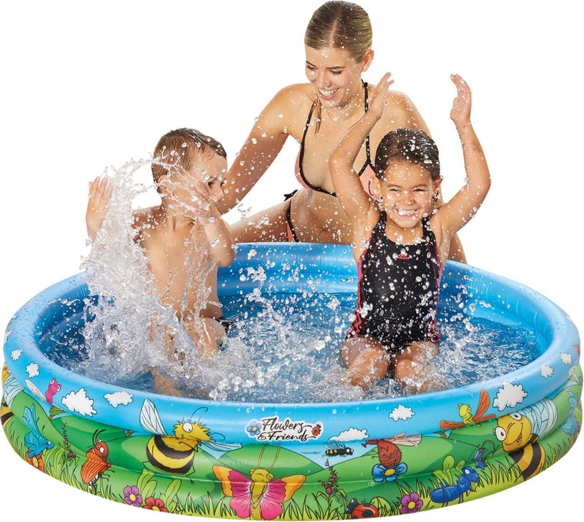 Blauw/bloemen opblaasbaar zwembad 122 x 23 cm speelgoed - Rond zwembadje - Pierenbadje - Buitenspeelgoed voor kinderen