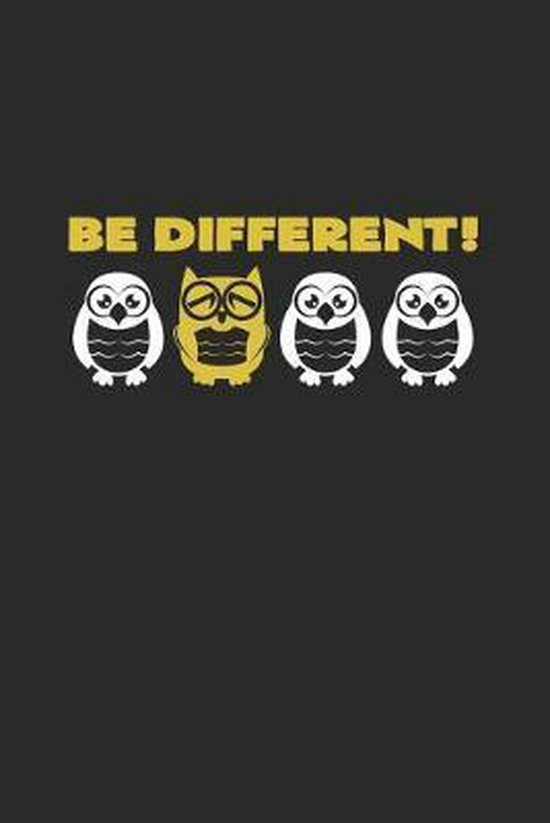 Be different: 6x9 Owl - dotgrid - dot grid paper - notebook - notes