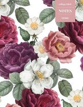 College Ruled Notes 110 Pages: Vintage Floral Notebook for Professionals and Students, Teachers and Writers - Soft Pink Roses and Peonies Pattern
