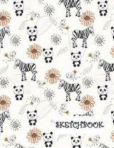 Sketchbook: Flowers Panda Bear & Zebra Fun Framed Drawing Paper Notebook