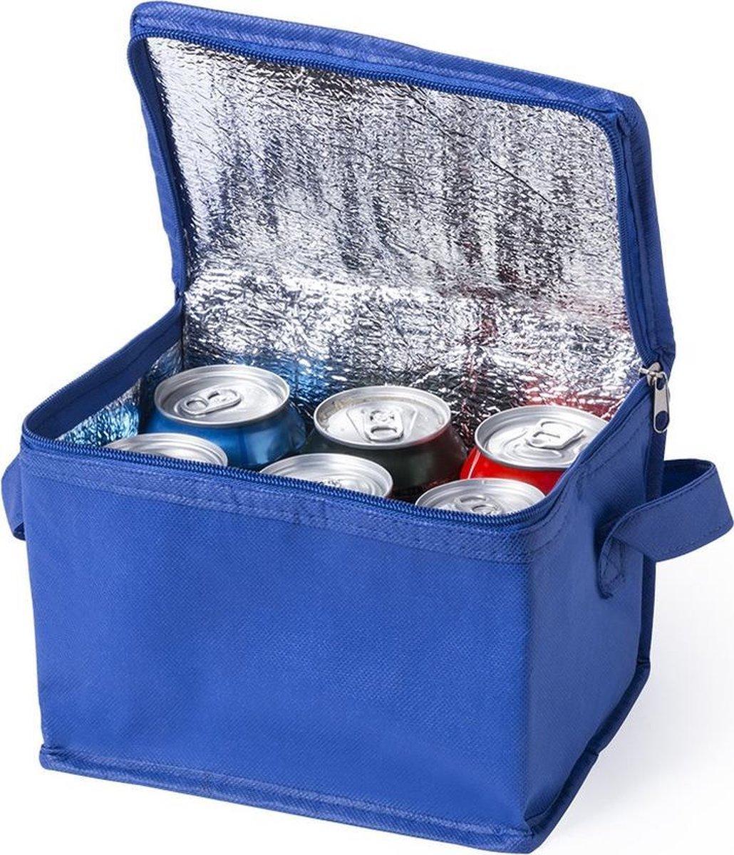 Kleine mini  koeltassen blauw sixpack blikjes - Compacte koelboxen/koeltassen en elementen