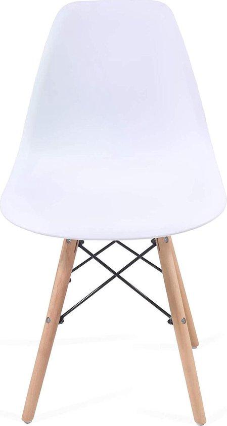 Trend24 - Eetkamerstoelen - Woonkamerstoelen - Lounge stoelen - Scandinavische stijl - Retro - Vintage - Set van 2 - Plastic - Wit