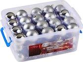 Christmas gifts Kerstballen - 70 ballen - set in box  - Plastic / Kunststof - Zilver
