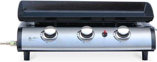 Plancha op gas 3 banders - Porthos - 7,5 kW, barbecue, buitenkeuken, geëmailleerde plaat, inox. Inclusief gasconnector G1/2