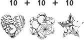 Schoolpakket / 8-10 jaar / 10 x Hart - 10 x Bloem - 10 x Ster / Patroon Wall