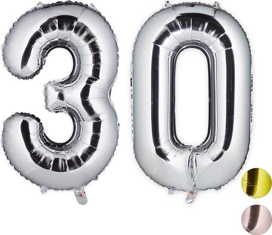 relaxdays 1x folie ballon cijfer 30 - XXL cijferballon - folieballon - verjaardag - zilver