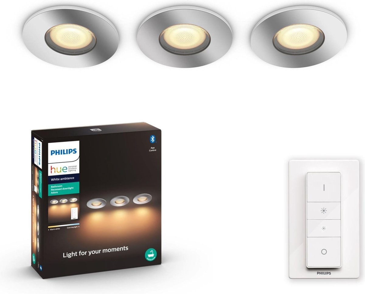 Philips Hue Adore recessed Inbouwspot Badkamer - White Ambiance - GU10 - Chroom - 3 x 5W - Bluetooth - incl. Dimmer Switch