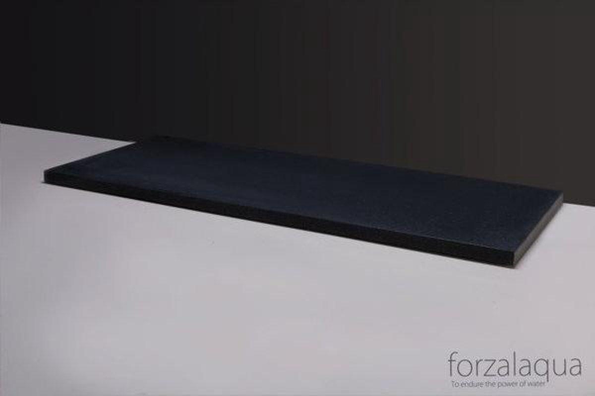 Forzalaqua Plateau wastafelblad 2 afvoergaten 120.5x51.5x3cm rechthoek graniet gezoet antraciet