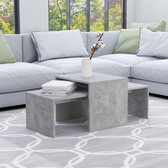 vidaXL Salontafelset 100x48x40 cm spaanplaat betongrijs