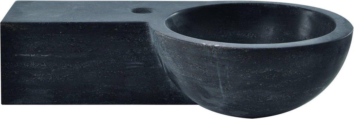 Saqu Fontein rond 1 kraangat links 40x23x10 cm Hardstenen Zwart