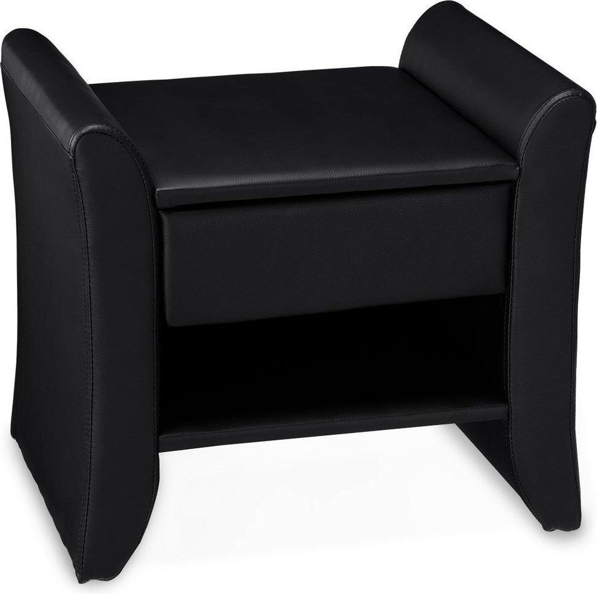 Design nachtkastje Bali met 1 lade kunstleer 44x47x37 cm zwart kopen