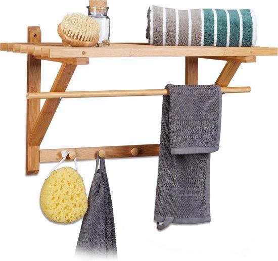 relaxdays Wandmeubel bamboe hout badkamer / keuken - Garderobe rek - Plank 4 haken stang.