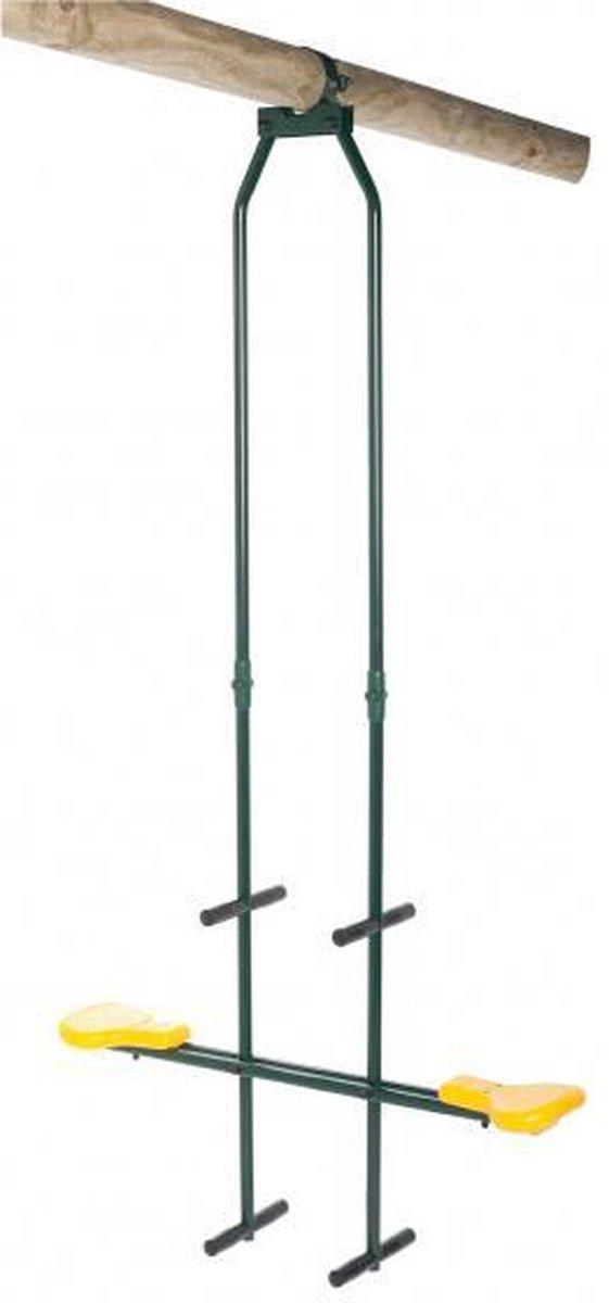 duoschommel 99 x 23,5 cm hoogte 250 - 270 cm groen/geel