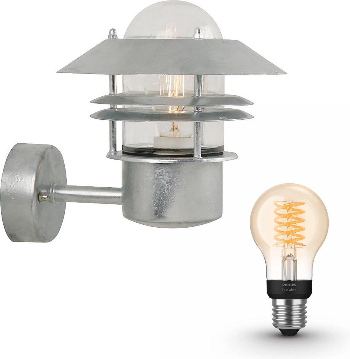 Nordlux Blokhus wandlamp - zink - 1 lichtpunt - incl. Philips Hue White Filament standaardlamp E27