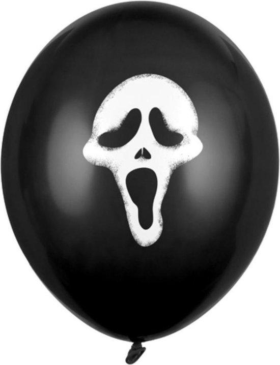 Halloween - 18x Zwarte ballonnen Scream doodshoofd Halloween 30 cm - Halloween versiering/decoratie