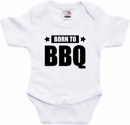 Born to BBQ tekst baby rompertje wit jongens en meisjes - Kraamcadeau barbecue liefhebber 80 (9-12 maanden)