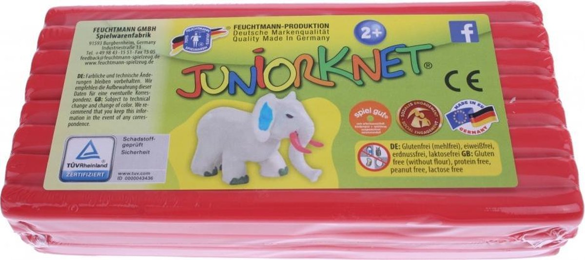 Juniorknet Klei Jumbo Pack 500 gram Rood