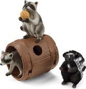 Schleich Wild Life - Wasbeer en het Stinkdier hebben Speelplezier met de Noot - Speelfigurenset - Kinderspeelgoed voor Jongens en Meisjes - 3 tot 8 jaar