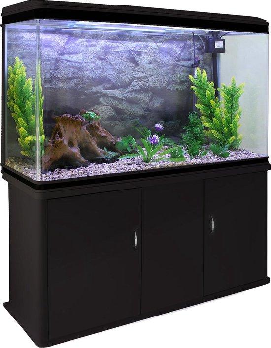 MonsterShop Aquariums - Aquarium - inclusief Filter Pomp Verwarming Verlichting Decoratie Planten - Zwarte Meubel - Natuurlijk Grind