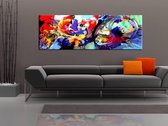 Schilderij - Kleurrijke onderdompeling, multikleur, premium pint