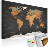 Afbeelding op kurk - Geheimen Van De Aarde, Wereldkaart, Zwart/Bruin, 1luik