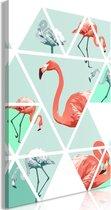 Schilderij - Geometrische Flamingo's