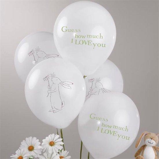 Ballonnen - Guess how much I love you 8 stuks - geboorte/babyshower