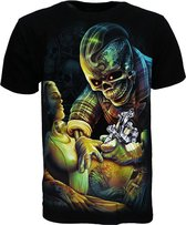 Tattoo Artist Skelet 3D T-Shirt Zwart Glow in the Dark