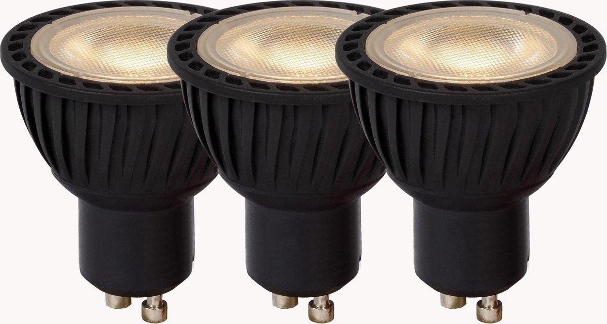 Lucide LED BULB - Led lamp - Ø 5 cm - LED Dimb. - GU10 - 3x4,5W 3000K - Zwart - Set van 3 - Lucide