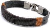 Joboly Stoere echt leren mannen / heren armband met metalen sluiting - Heren - Zwart - 20 cm
