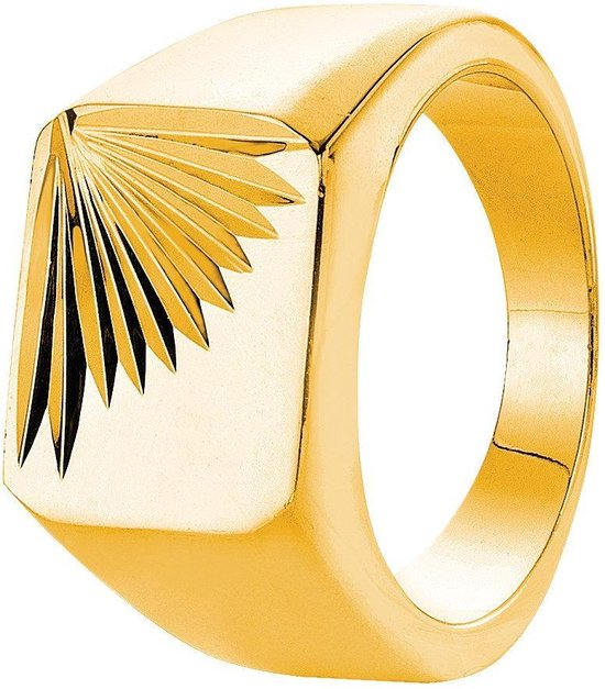 Lucardi Gold Plated Zegelring - Maat 63