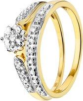 Lucardi - Diamond - dubbele ring met 20 diamanten