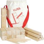 Schaakspel: KUBB vikingschaakspel H25cm en 4x4x12cm, 21-deli