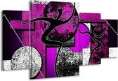 Canvas schilderij Abstract | Paars, Zwart, Wit | 160x90cm 4Luik