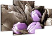 Canvas schilderij Orchidee   Paars, Grijs, Bruin   160x90cm 4Luik