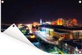 Downtown van Baton Rouge in de Verenigde Staten tijdens de nacht Tuinposter 120x80 cm - Tuindoek / Buitencanvas / Schilderijen voor buiten (tuin decoratie)