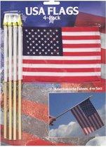 4x Amerikaanse zwaaivlaggetjes - USA - landenversiering - vlaggetjes / zwaaivlaggen