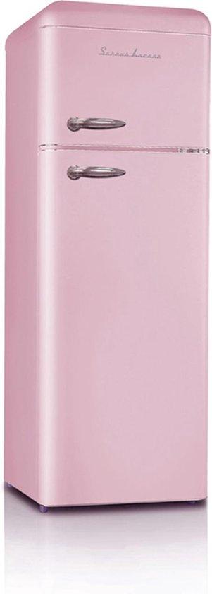 Koelkast: Schaub Lorenz SL210 SP DD - Compacte Retro Koel-vriescombinatie - Roze, van het merk Schaub Lorenz