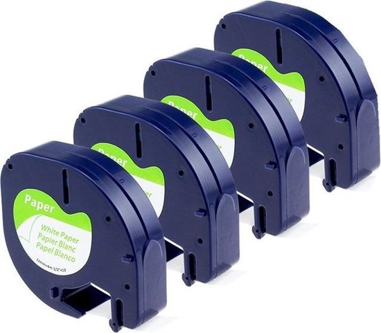 Afbeelding van 4x Compatible voor DYMO LetraTAG Papier tape labelprinter-tape (Rillstab)  / 12mm x 4m / Dymo 91200