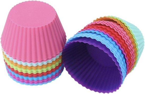 Siliconen cupcakevormpjes rond - 12 stuks